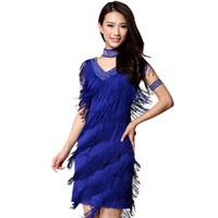 Wholesale Sequin Fringe Dance Dress - 2016 Vintage Bling Fashion V Neck 1920s Sequin Fringe Charleston Flapper Great Gatsby Stage Dance Clothing Dresses Wear Costumes
