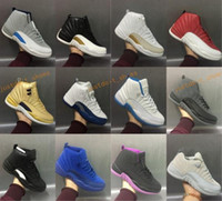 Wholesale Retro Wool - High Quality Retro 12 OVO Gym Red Wool Taxi Basketball Shoes Men Women 12s Flu Game Black Nylon PSNY Sneakers With Shoes Box