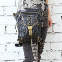 Wholesale-Hot Moda Steampunk exclusivo retro rock gótico saco Packs ombro Bag Homens Mulheres perna leatherwaist saco de transporte gratuito