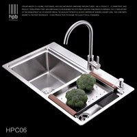Wholesale Han Pai Stainless Steel Double Bowel Thicken Square Brushed Artesanato Kitchen Sink Faucet Fregadero HPC06