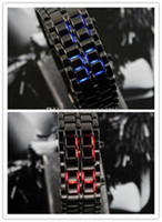100pcs lot LED Watch SHARP Lava Style Iron Samurai Metal Hommes Femmes Mode mode rouge / bleu LED styles