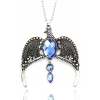 Wholesale Magic Wing - Vintage Harry Movie Inspired Sorcerer's Stone Ravenclaw Lost Diadem Tiara Crown Horcrux Magic School Wing Pendant Potter