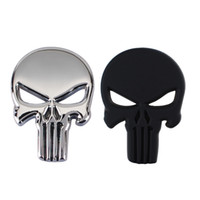 Wholesale for car siding resale online - Punk D Skull Car Front Sides Rear Decorations metal Badge Emblem for Univesal Car Silver