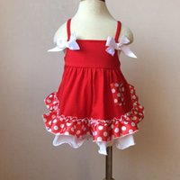 Wholesale Top Swing Sets Clothing - Christmas New Summer Princess Girls Romper Sets Bowknot Polka Dots Dress Swing Tops + PP Briefs Red 2pcs Sets Xmas Clothes A5753