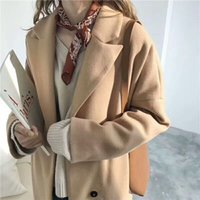 Wholesale Interlocking S - Western style is concise and pure color hidden-interlocking super long relaxed joker back bifurcate cloth coat coat Qiu dong female