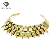 Wholesale silver metal bib necklace - Punk Metal Torques Inlay Geometric Chain Choker Necklaces For Women Fashion Neck Bib Collares Statement Jewelry Accessories