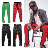 Wholesale hiphop new style - 2018 New Green Colour Fifth Collection Justin Bieber side zipper casual sweatpants men hiphop jogger pants 12 style S-XXL trackpants