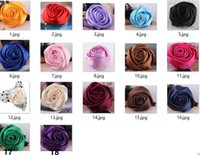 Wholesale Corsage Photos - Fashion texture silky satin fabric rose a corsage pin photo show dance festival insignia on a cap