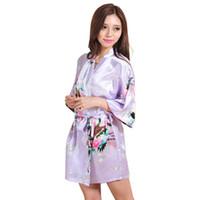 d221c8b3f0 Wholesale- 2015 Women Robe Pajama Japanese Yukata Kimono Satin Silk Vintage  Bathrobe Nightgown Sexy Lingerie Sleepwear S M L XL XXL 3XL