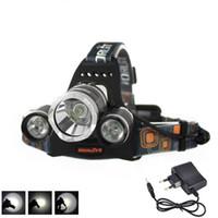 Wholesale Usb Lampe - 6000LM 3x XML T6 LED 2x18650 Stirnlampe Kopf Lampe Licht USB EU Ladegerät Torch Rehargeable Boruit