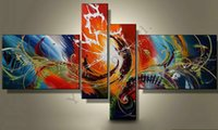 Venta caliente Moderna Línea de Cuchillo Peacock Pintura Al Óleo Sobre Lienzo 4 Panel Arts Set Home Abstract Wall Decor Imagen para la Sala de estar