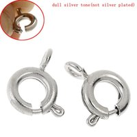 """Wholesale Bolt Rings Clasp - Alloy Bolt Spring Ring Clasp Round Silver Tone 9.0mm( 3 8"""") x 7.5mm( 2 8""""), 7 PCs 2015 new"""
