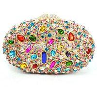 Wholesale Multicolor Evening Bags - Brand Designer Luxury Crystal Multicolor Clutch Bag Women Diamond Evening Bag Golden Oval Wedding Banquet Purse Handbags SC467
