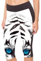 Wholesale Tights Women Black Capri - Yoga Capri Pants Women Bottom Cropped Exercise Breathable Short Legging Slim Run Training Trousers Fashion Tight Blue Eyes Tiger LN7Slgs