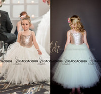 Wholesale Little Girl Lace Rose Dress - So Cute Sparkly Rose Gold Sequins Puffy Little Princess Flower Girls' Dresses Beautiful Tutu Gown Custom Make Cheap Little Girl Formal Dress