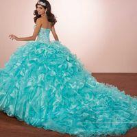 chaqueta con cuello volante al por mayor-Vestido de baile de disfraces Cristales de lujo Princesa Puffy Vestidos de Quinceañera Volantes de color turquesa Vestidos del 15 Vestido 2019 con chaqueta Bolero