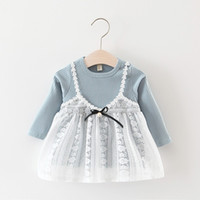 Wholesale Korean Lace Sleeveless Top - 2017 Baby Girls Princess Dress Autumn Lace Bow Long Sleeve Children Dresses Korean Style Girls dress Toddler Tops C1862