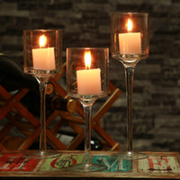 Wholesale Transparent Candle Holders - Transparent Candel Glass Cylinder Candle Holder Set Decorative Wedding Candle holder With Stand Wedding Home Bar Party Decoration Ornaments