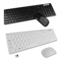 2.4g Super Slim branco / preto teclado sem fio e kit sem fio do mouse óptico Set Chocolate para PC Laptop Win7 8 Win10 Macbook MBA USB
