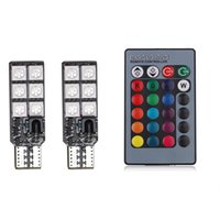 Wholesale Led Pcb Remote Control - New PCB T10 5050 12 SMD car clearance bulb RGB remote control indicator explosion flash atmosphere lamp DC12V