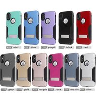 Wholesale Metal Silver Armor - Shockproof Kickstand 2in1 Hard Armor Plastic TPU Silicone Fiber Captain Hybird Case For Iphone x 8 6 7 Plus Metal Stand Case