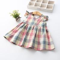 Wholesale Sleeveless Cotton Sundress - Kids Girls Flying Sleeveless Plaid Sundress Backless Cross Cotton Dress 2 Colors Children Dress Clothing