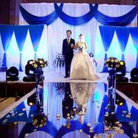 corredor de tapete do corredor venda por atacado-2018 Imagem de Fundo de casamento de luxo Supplies Decor Espelho Tapete Gold Silver Double Side Aisle Runner para decoração do partido