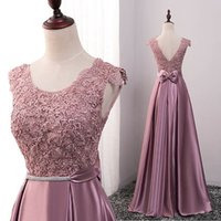 Wholesale cape sleeve top - 2016 Fall Real Image Scoop Neck Long Bridesmaid Dresses Elegant Backless Top With Lace Cape Sleeve Wedding Guest Gown Maid Of Honor Dresses