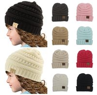Wholesale Trendy Baby Colors - Winter Trendy Warm Headware 12 Colors CC Beanie Hats Children Baby Kids Girls Boys Wool Knitted Caps