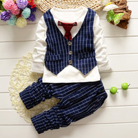 Wholesale chinese boys suit - Kids Boys Clothing Sets Spring Gentleman Clothes Suit Long Sleeve Tie Plaid Top + Pants 2 Pics Suits Cotton Kids Clothing Sets