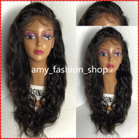 Wholesale Cheap Long Half Wigs - Top 7A Grade Best Full density Virgin Brazilian Human Hair Wig Full Lace Wig Cheap Human Hair Lace Front Wig Glueless Wig