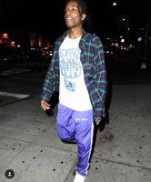 Wholesale Sweater School - VINTAGE Sweater pant Gosha Rubchinskiy Vetements 2017 ASAP rocky letter Embroidered Side Line Jogger skateboard Pants Purple OLD School pant