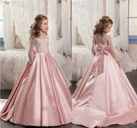 Wholesale Long Sleeve T Shirts Junior - 2017 Pink For Girls First Communion Dresses Long Sleeve A Line Junior Pageant Gown With Bow Flower Grils Dress Custom Made