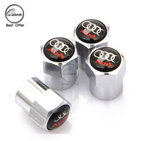 Wholesale Caps For Wheels - SILVER CHROME WHEEL VALVE CAP TYRE STEM AIR CAPS for AUDI BLACK