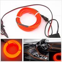 Wholesale Unique Decor Free - 2M 12V Orange EL-Wire Car Interior Unique Decor Fluorescent Strip Neon Cold light Atmosphere Free shipping