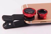 Wholesale Eye Lens Iphone - Clip 3 in 1 Fish Eye Lens Wide Angle Macro Mobile Phone Camera Lens Fisheye For iPhone 6 Plus Samsung 10PCS