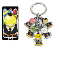 Wholesale Assassination Classroom Octopus teacher Korosensei Metal Keychain Strap lobster clasp character doll pendant with Key Ring