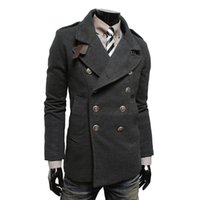 Automne-2016 New hiver Jacket Men Casual Coat peignée Trench double boutonnage Pardessus stand Collar Caban Manteau Homme