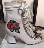 Wholesale Out Metal Charms - vogue~TOP QUALITY~FASHIONVILLE* u616 34 40 genuine leather flower pearl metal bow lace up thick heel boots black navy white