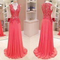 Wholesale Long Line Dress Watermelon - Watermelon Red Evening Dresses A Line V Neck Lace Appliques Prom Dresses Long Chiffon Evening Party Gowns 2017