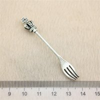 Wholesale Antique Silver Forks - 15Pcs 60*8mm antique Silver Tonecrown fork Charms Zinc Alloy DIY Handmade Jewelry Pendants Wholesale