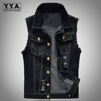 Wholesale Denim Vests For Men - Fashion Mens Motorcycle Jean Vest Black Ripped Destroyed Washed Slim Fit Sleeveless Denim Jacket For Men Plus Size 6XL