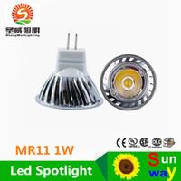 Wholesale Mini Led 35mm - On sale! MR11 1W 50pcs lot Mini led spotlight DC12V 35mm Mini indoor led lamp white or Warm white RoHS CE