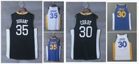 Wholesale Blue Curry - 35 Kevin Durant 30 Stephen Curry Jersey 2018 Season Basketball Jersey Men 35 Durant 30 Curry Blue White Black Basketball Jerseys