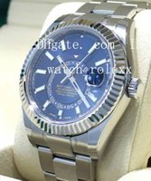 Wholesale digital branding - Mens High Quality Luxury AAA brands New style Blue 42mm SKY-DWELLER 326934 Stainless Steel Mechanical Automatic Wristwatches