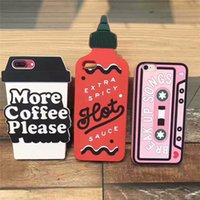 Wholesale Silicone Cassette Iphone Case - Silicone case Cassette 3D hot spicy bottle more coffe please cup silicon Cover For Apple iPhone 7 7 Plus 6 6plus cellphone