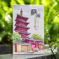 Atacado- Cute 12 folhas Cool Chinese City Suzhou Traveling Paper Greeting Card pintado à mão Beautiful Scenery Souvenir Postcard Gift CC