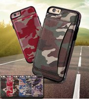 Wholesale Camo Wallets - Army Camo Wallet Case Fashion Luxury Multifunction Camouflage PU & TPU Card Solt Stand Cover For iPhone 8 8Plus Samsung S8 Note 8