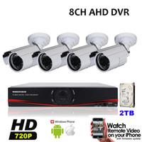 Wholesale Surveillance 8ch 2tb - 8CH AHD DVR Kit 4 HD 720P 1MP Outdoor Waterproof CCTV Cameras Video Surveillance 1920*720P Security Camera System 2TB HDD