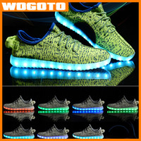 Wholesale Polka Dot Knit Fabric - Wholesale LED Colorful Casual Shoes Llights Knitted Shoes For Female Male USB Charging Emitting Fluorescent Couple Sport Shoes DHL free